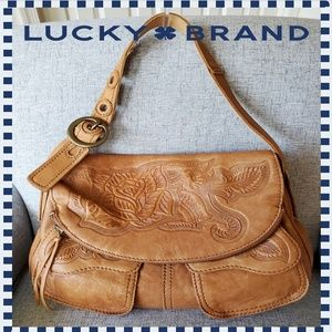 Lucky Brand Tan Tooled Leather Hobo Shoulder Purse